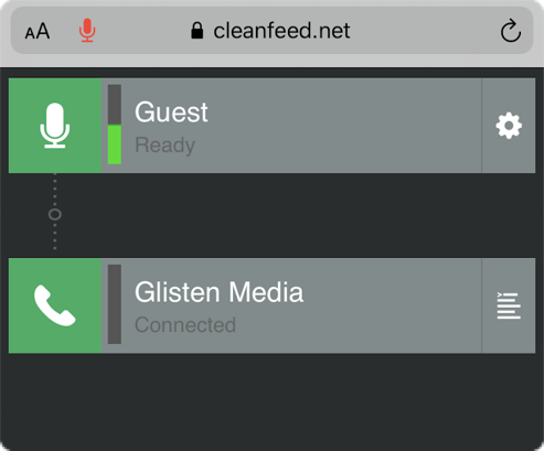 Cleanfeed - iOS -Guest Connected to Glisten Media